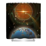 Solar Message Shower Curtain by Corey Ford