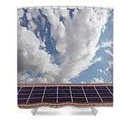 Solar Panels On Roof Top Shower Curtain