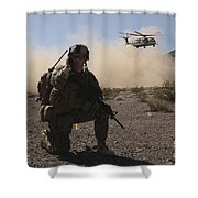 Solders Are Inserted By A Ch-53 Super Shower Curtain
