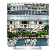 Soldier Field Stadium In Chicago Aerial Photo Shower Curtain