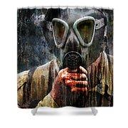 Soldier In World War 2 Gas Mask Shower Curtain