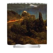 Soldiers Amount Towards A Mountain Fortress Shower Curtain