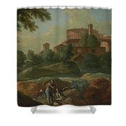 Soldiers And Dogs Near A River Shower Curtain
