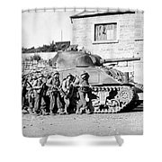 Soldiers And Their Tank Advance Shower Curtain