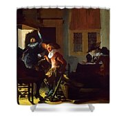 Soldiers Beside A Fireplace 1632 Shower Curtain