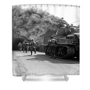 Soldiers Move Through A Smoke Filled Shower Curtain