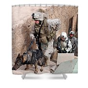 Soldiers Move To The Roof Of A Metal Shower Curtain