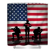 Soldiers On American Flag Shower Curtain