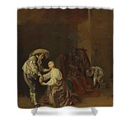 Soldiers Taking Plunder Shower Curtain