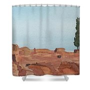 Solitarty Tree On Mountain Shower Curtain