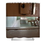 Solitary Confinement Cell Through Door Slat Shower Curtain