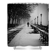 Solitary Man In The Snow Shower Curtain