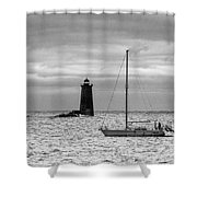Solitary Sailor, New Castle Sunrise Shower Curtain