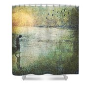 Solitary--walking In Water Shower Curtain
