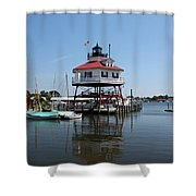 Solomons Island - Drum Point Lighthouse Reflecting Shower Curtain