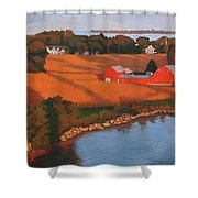Solomons Red Barn At Sunset Shower Curtain