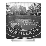 Somerville Ma Davis Square 175 Years Black And White Shower Curtain