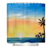 Sometimes I Wonder - Vertical Sunset Shower Curtain