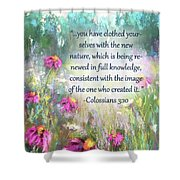 Song Of The Flowers With Bible Verse Shower Curtain