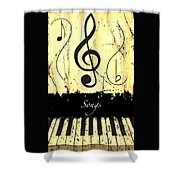Songs - Yellow Shower Curtain