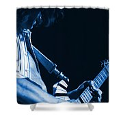 Sonic Blue Guitar Explosions Shower Curtain