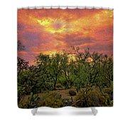 Sonoran Desert Sunset Op46 Shower Curtain