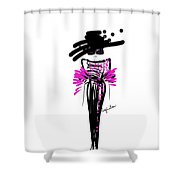 Sophisticated In Pink And Black Silk  Shower Curtain