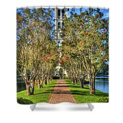 Sounds Of Victory The Bell Tower Furman University Greenville South Carolina Art Shower Curtain