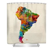 South America Watercolor Map Shower Curtain