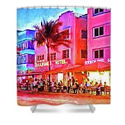 South Beach Neon Shower Curtain