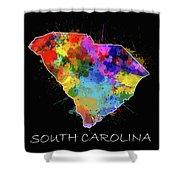 South Carolina Map Color Splatter 2 Shower Curtain