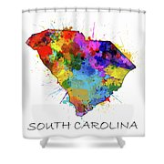 South Carolina Map Color Splatter Shower Curtain