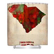 South Carolina Watercolor Map Shower Curtain