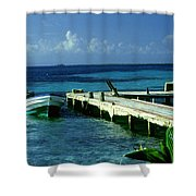 South Caye Belize Boat Dock Shower Curtain