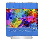 South Dakota Map Color Splatter 3 Shower Curtain