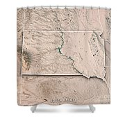 South Dakota State Usa 3d Render Topographic Map Neutral Border Shower Curtain