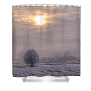 South Downs Hoar Frost Shower Curtain