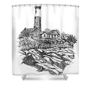 South Fork Lighthouse L I N Y  Bw Shower Curtain