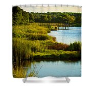 South From The Causeway Huntington Beach State Park Sc Shower Curtain