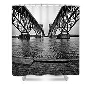 South Grand Island Bridge In Black And White Shower Curtain