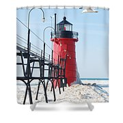 South Haven Pierhead Light Shower Curtain