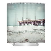Southern California Pier Vintage 1950s Picture Shower Curtain by Paul Velgos