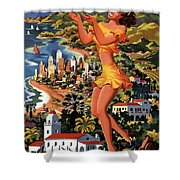 Southern California - United Air Lines - Retro Travel Poster - Vintage Poster Shower Curtain