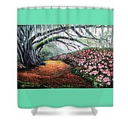 Southern Charm Oak And Azalea Shower Curtain