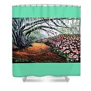Southern Charm Oak And Azalea Shower Curtain