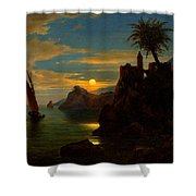 Southern Coastal View By Moonlight Shower Curtain