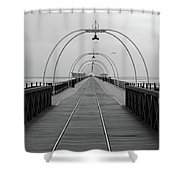Southport Pier At Sunset With Walkway And Tram Lines Shower Curtain
