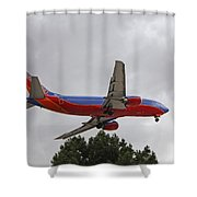 Southwest Airlines 737 On Approach Into Las Vegas Nv Shower Curtain