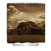 Southwest Navajo Rock House And Lightning  Shower Curtain