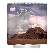 Southwest Navajo Rock House And Lightning Strikes Shower Curtain